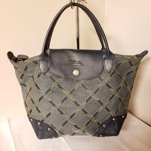Authentic long champ denim studded satchel